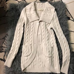 Long, cream colored sweater cardigan